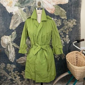 💚 Y2k cotton blend SLIME LIME GREEN trench coat
